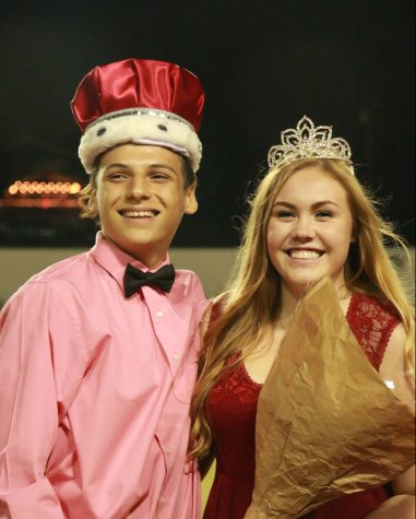 Homecoming King Taylor Lucio and Homecoming Queen Michaela MacDonald just after being crowned on Sept. 16.