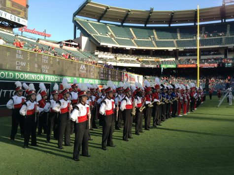 FUHS Marching Band performing at Angel's Stadium on Sept.