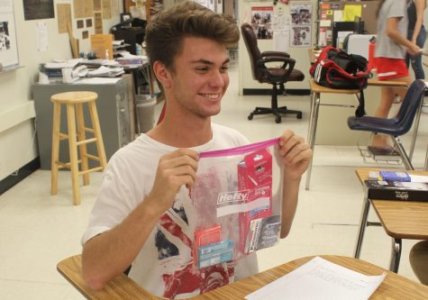 Junior Aristotle Bougas with his care package. Photos by Kristi Rho.