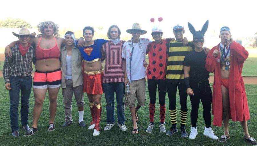 FUHS+Varsity+Baseball+on+in+their+costumes+for+the+Halloween+game+on+Oct.+31.+