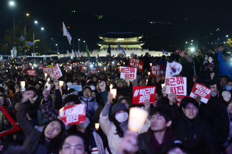 Citizens of South Korea protest on the streets of Seoul. Photo from www.koreatimes.com