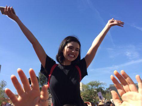 Senior Jade Lau at International Women's Day March.