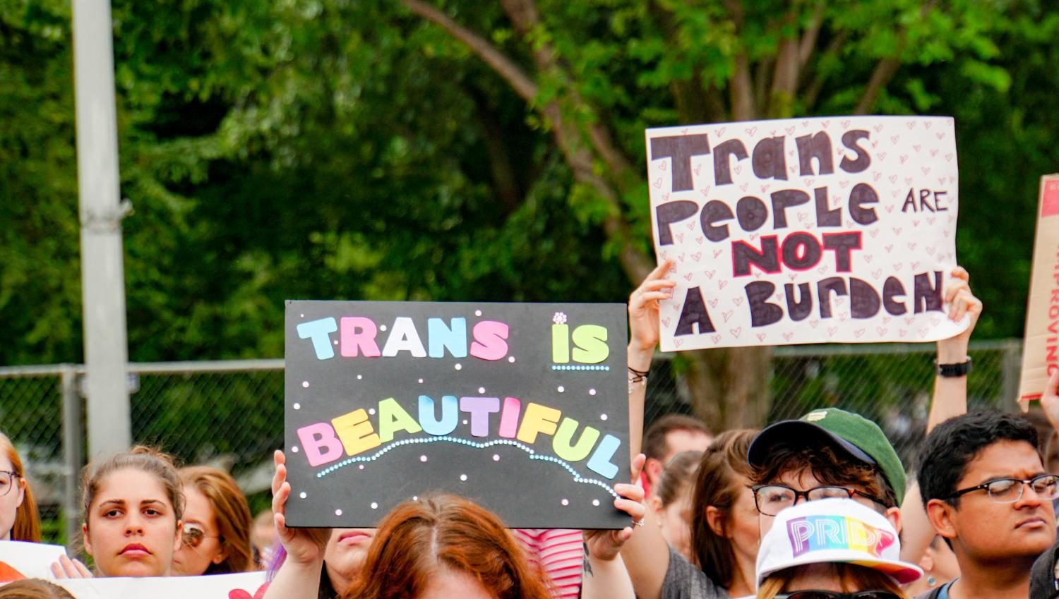 Activists protesting the  new transgender military ban.