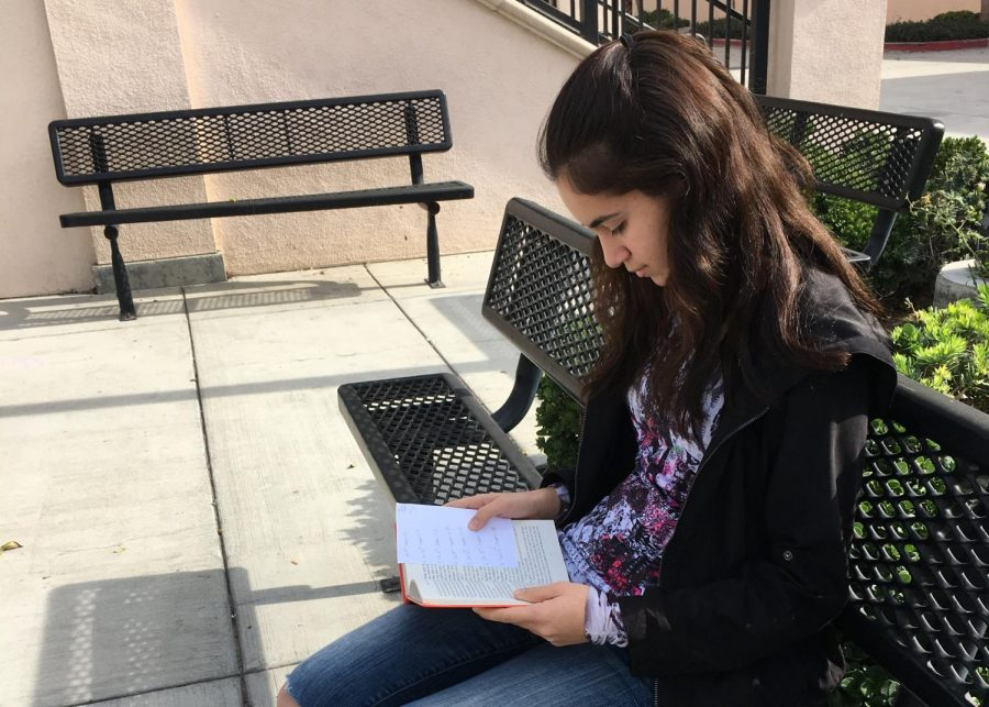 Sophomore Claudia Fiallo reads to fulfill her New Years resolution. Photo by Emma Kelly.