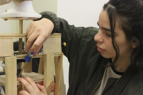 Erika Pike-Gonzalez working on her Beast project. Photo by Anthony Rugama.