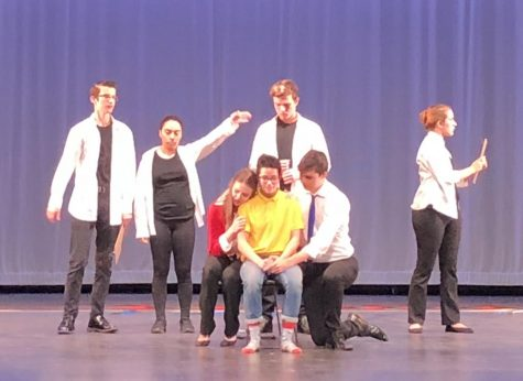 The cast performing a scene from The Yellow Boat. Photo by Michael Despars.