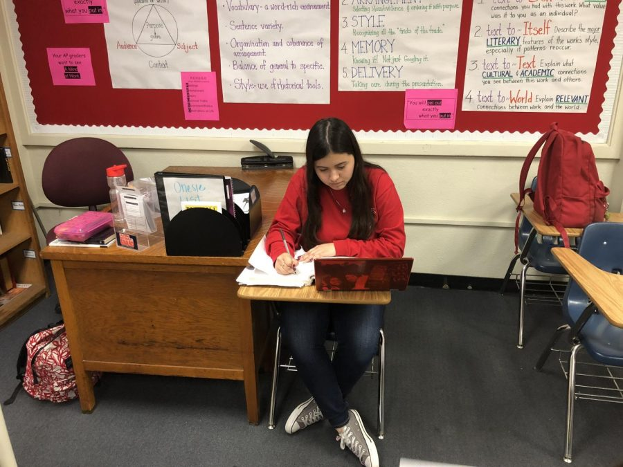 Senior Stephany Flores studying for her AP classes.