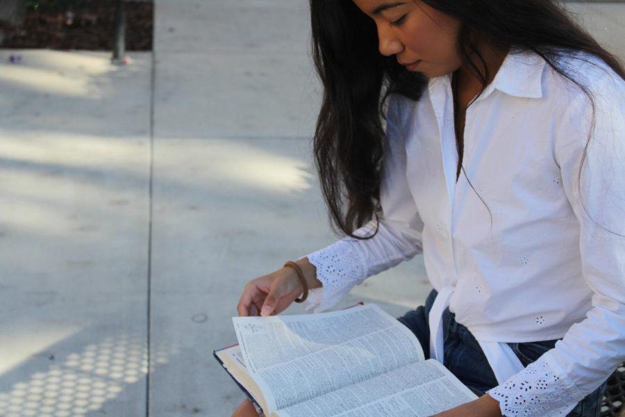 Bella Munoz studies for her IB class.