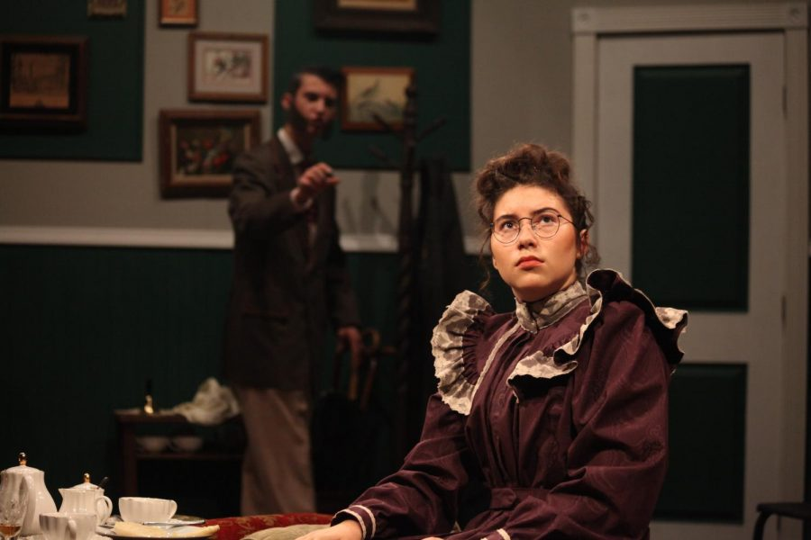 Ana Bane as Mrs. Mannigham contemplating a proposition from Timothy Coleman as Inspector Rough