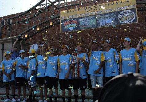 The Fullerton community awarded the Junior Little League champions with a parade and showered them with confetti. Photo by Isaiah Zarate.