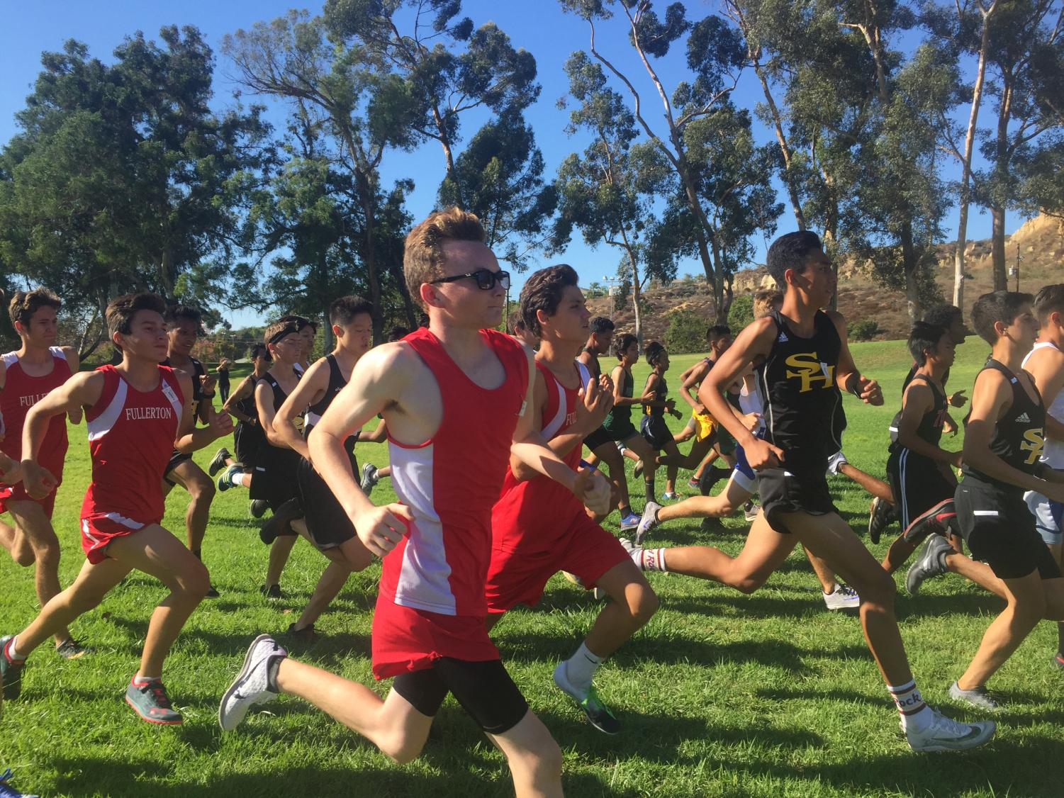 Junior Cyrus Burton running in the Freeway League Cluster no. 1