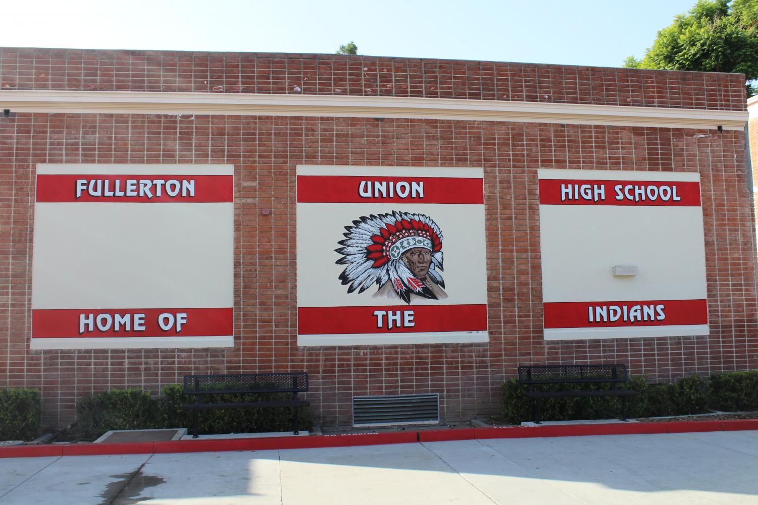 The school repainted the mural on the side of the Culinary Arts building. Photo by Jose Perez.