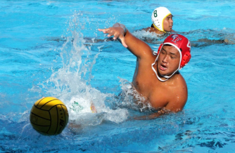 Freshman Preston Kim scored a goal in the 16-6 loss to Chadwick during the first round of CIF Tuesday. This season was the first time in ten years that the boys water polo team qualified for the Division IV CIF. Photo courtesy of Cindy Calmise.