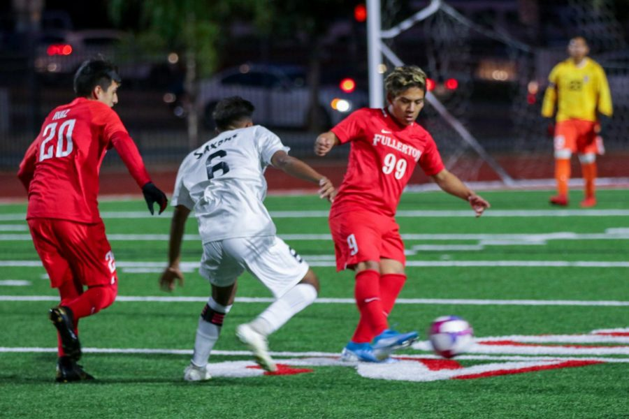 The+boys+soccer+team+%282-1-1%29+won+its+first+two+non-league+games%2C+including+a+5-0+win+against+El+Dorado.+Senior+Joseph+Espinoza+%28pictured%29+has+a+total+of+four+pre-season+goals.+On+Friday+the+team+plays+host+to+Saddleback+at+6+p.m.+The+Indians%E2%80%99+first+Freeway+League+game+is+at+Troy+on+Dec.+19+at+3+p.m.+Photo+by+Jose+Perez.+%0A