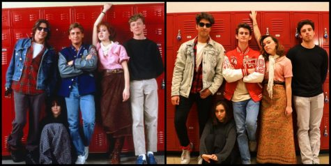 Tribe Tribune staff members recreated famous 80s movie posters, including The Breakfast Club (1985) which reminds students that humanity transcends labels and assumptions based off of preconceived judgments. Photo by Lauren Wright.