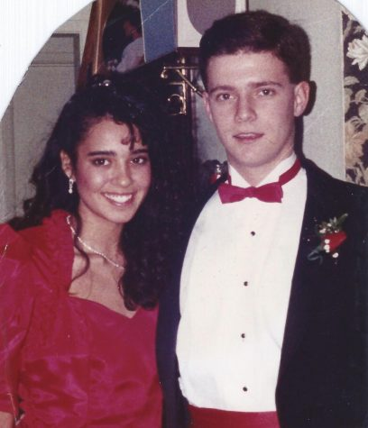 English teacher Michael Alvarez poses with his girlfriend (now wife) before Mayfair High School's Winter Formal in 1988. Photo courtesy of Michael Alvarez.