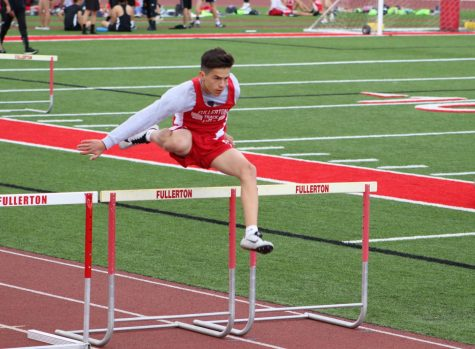 Freshman Dorian Yepez placed second in the 110 meter high hurdles on March 7. Photo by Jose Perez.