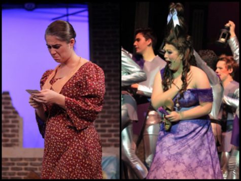 Senior Sydney Castiglione is known for her wide range of dramatic and comedic roles. (Left) Sydney played grieving mother Mary Davis in the FUHS production of The Girl in the White Pinafore in November. (Right) Her sophomore year, Sydney played step-sister Charlotte in the FUHS production of Cinderella. Photos courtesy of Sydney Castiglione.