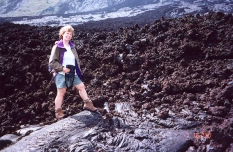 In 2000, Irwin traveled to Hawaii for Project Lava to collect rock samples for her classroom and walk on freshly solidified lava. Photo courtesy of Christine Irwin.