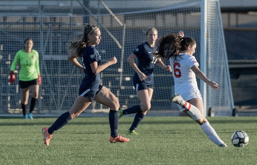 Haley+Knight+%28right%29+attempts+to+score+a+goal+against+Sonora.+Photo+courtesy+of+Haley+Knight.