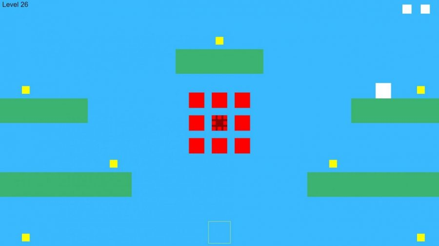 In Plat404mer, the player takes control of a white square, and must move through the level, avoiding the enemies (red squares) until the player controls all of the yellow squares.
