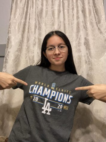 Alejandra Rodriguez showing off her Dodgers champion shirt. Photo courtesy of Alejandra Rodriguez.