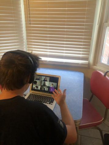 Astor Redhead coaches speech students through zoom photo courtesy of Astor Redhead.