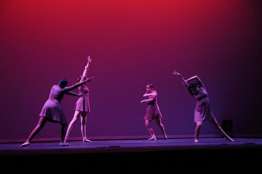 Sophomore Leeyah Gray, junior Rachel Vinson, freshman Rhyan Stevens, and junior Rosa Balderas rehearse their dance ''Healing'' choreographed by junior Cherish Angus. The music is by Sabrina Cladio. Photo by Arashk Alivandi.