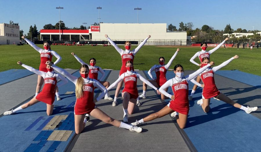 Fullerton's first competition cheerleading team made history with a first-place victory. (Left to right back) Amelia Jones, Natalie Frady, Isabella Tatley, Emma Torresluna, Samantha Viveros (Left to right middle) Brooke Tomsons, Madeline Lagne, Kelsey Lee (Left to right front) Sierra Grimm, Jamisen Chacon. Photo courtesy of Sypen Van.