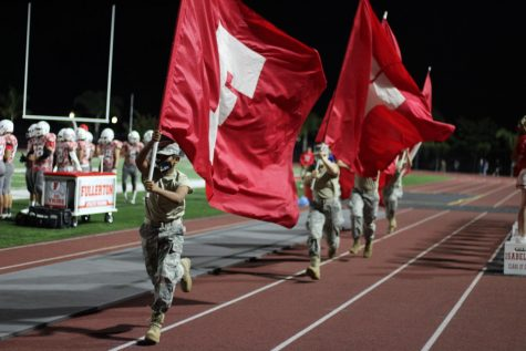 Fullerton JROTC members were at the Homecoming game on April 16. Photo by Alexandra Williams.