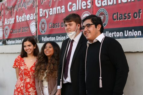Gabrielle Platon, Bryanna Calles, Astor Redhead and Ben Torres (left to right) earned cords for Speech & Debate at Senior Awards Night. Photo by Frances Walton.