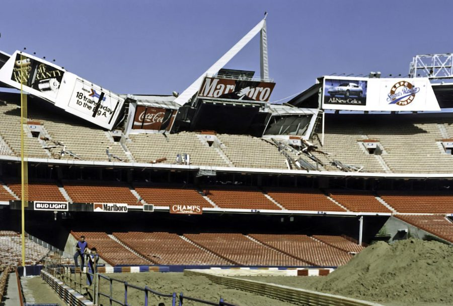 Busser's most iconic photo was of Anaheim Stadium after the 1994 California earthquake which caused the stadium's upper deck to collapse.
