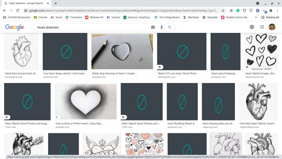 Innocent searches such as heart sketches are full of blocked images on student chromebooks.