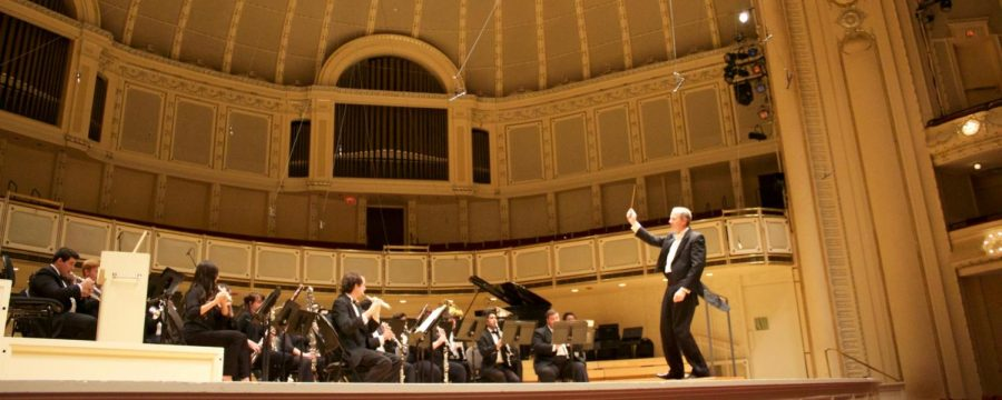FUHS alum Larry Stoffel conducts the Cal State Northridge Wind Ensemble at the Chicago Symphony Hall.
