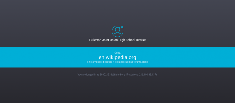 This is what students will see when they come across a blocked website. Although Wikipedia was blocked in the August, the district has since granted students access to the site.