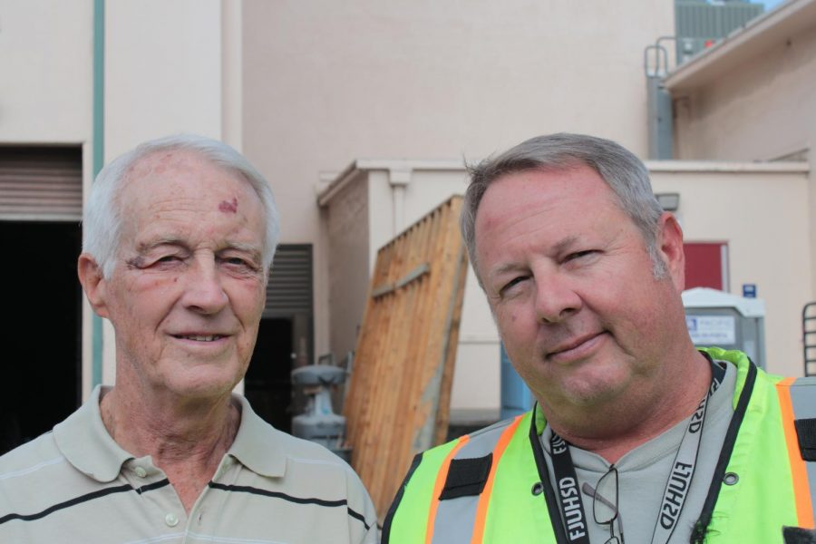 (Right) Troy Shandy is the school district's Construction Projects Manager. Terry Galvin (left) is a board member from Fullerton Heritage, a local nonprofit dedicated to preserving Fullerton's historical landmarks.